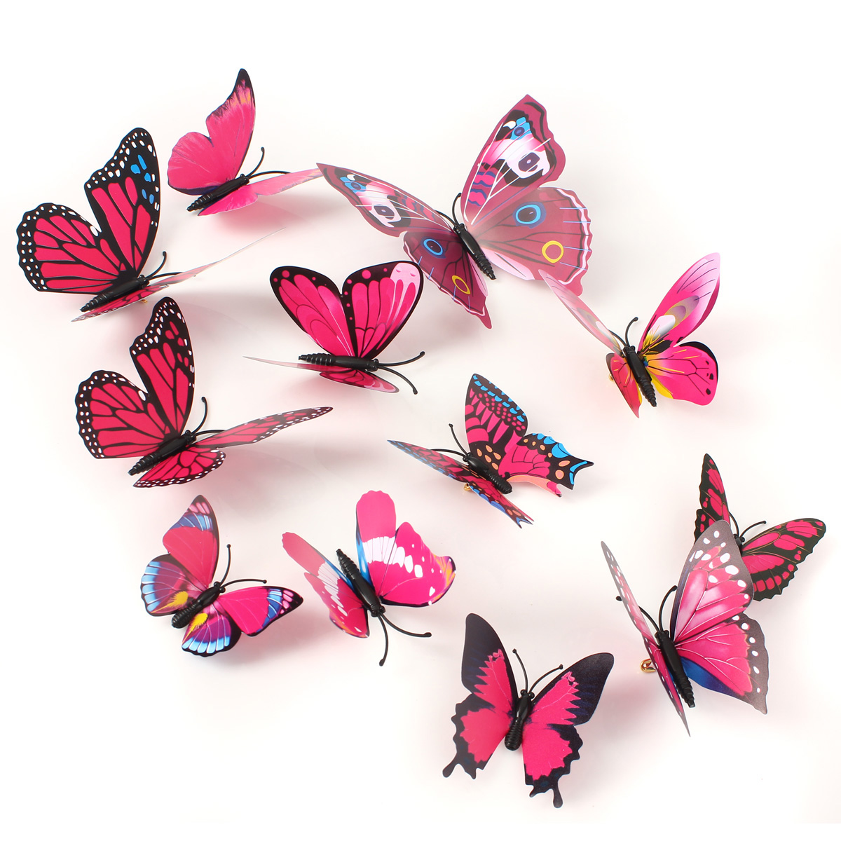 12Pcs 3D Rose Red Butterfly Wall Stickers Art Decals Home Wedding Party Decoration