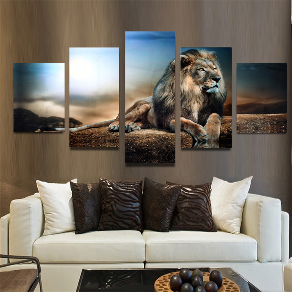 5PCS Frameless Canvas Print Sitting Lion Wall Art Painting Picture Home Decoration