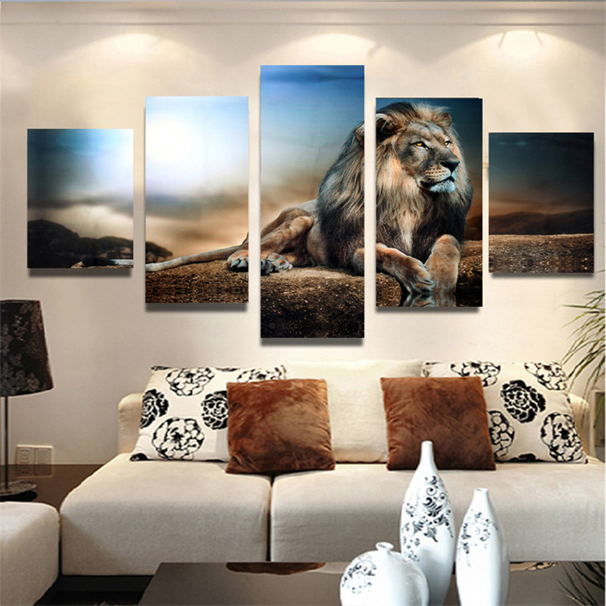 5pcs frameless canvas print sitting lion wall art painting picture home decoration at banggood. Black Bedroom Furniture Sets. Home Design Ideas