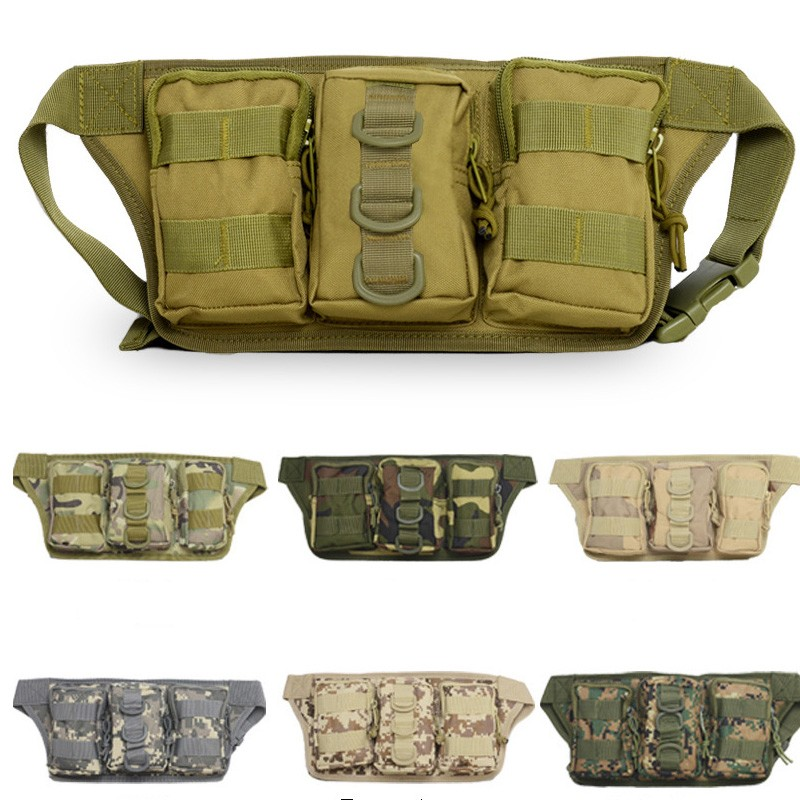 Outdoor Camping Hiking Waist Bag Military Tactical Trekking Waist Pack Bag Camo Pouch universal waist belt bag pouch outdoor tactical holster military molle hip purse phone case
