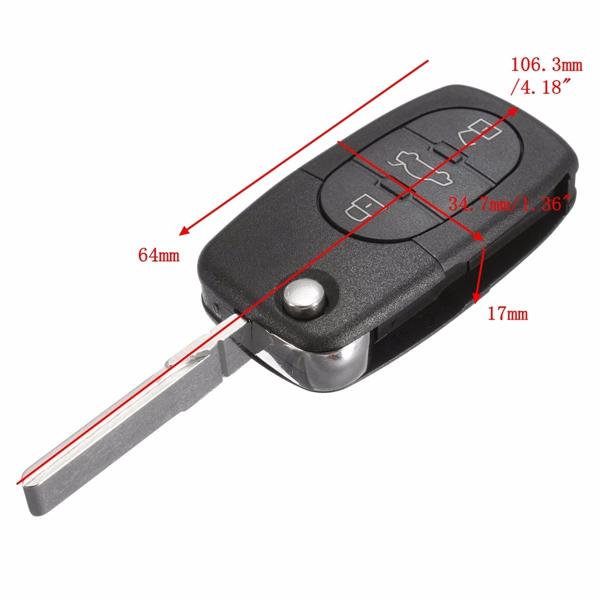 Car Flip Uncut Key Entry Remote Control Fob 4 Button for Audi A4 A6 A8 S4 S6 S8 TT