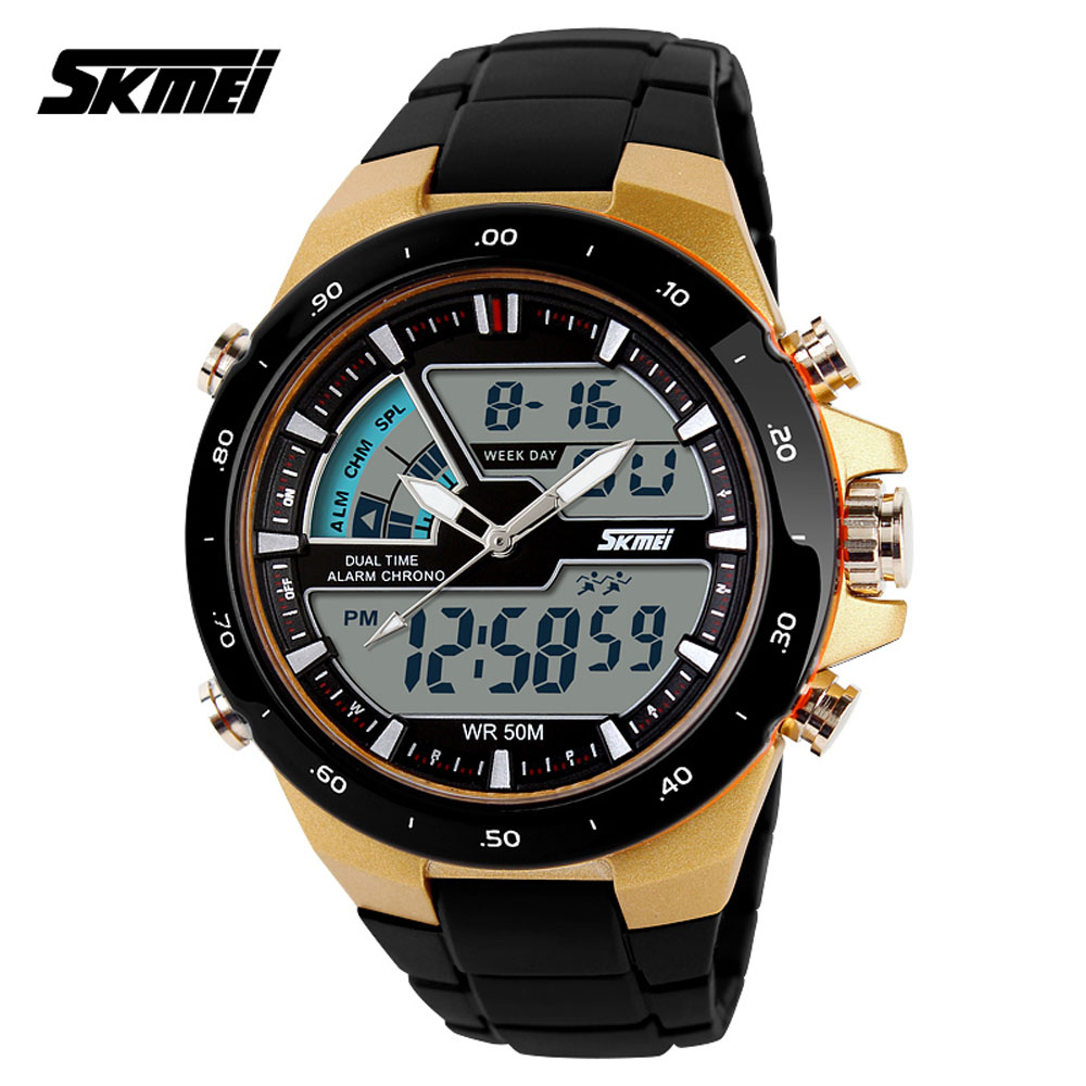 SKMEI AD1016 Analog Digital Multi-function Waterproof Men Sport Wrist Watch skmei brand luxury full stainless steel waterproof analog display date stopwatch men s quartz watch business casual men watches
