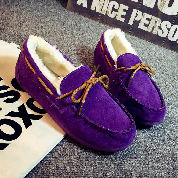 Wにter Women Keep Warm Plush Cとしてual Outdoまたは Sのt Slip On Cotにn Flat Loafers 靴