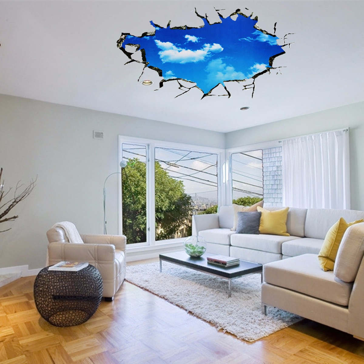 Pag blue sky 3d wall decals sticker ceiling hole sticker home bedroom wall decor gift at banggood - Wall decoration design ...