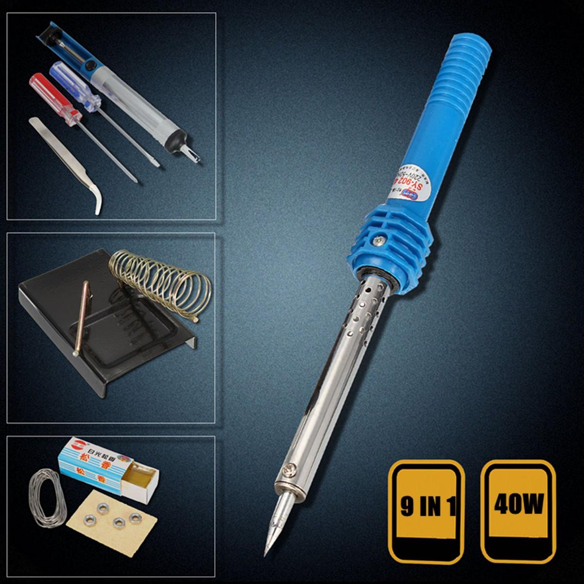9 in 1 40w electric solder starter tool kit set iron stand desolder pump alex nld. Black Bedroom Furniture Sets. Home Design Ideas