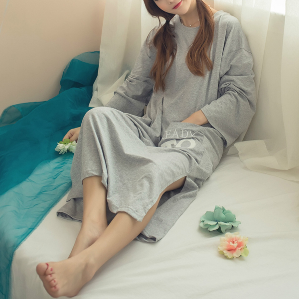 Woman Comfy Round Collar Long Sleeve Homewear Leisure Breathable Nightdress