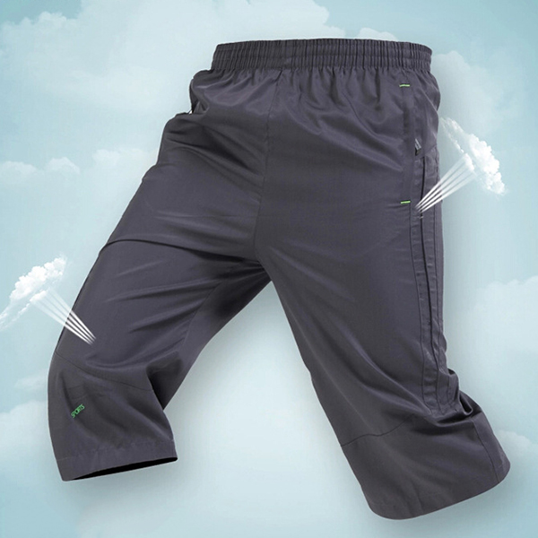 Men's Casual Loose Trousers Wear-resisting Breathable Quick Drying Sports Running Capri Pants