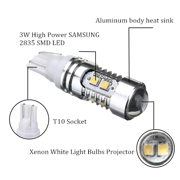 T10 168 921 High Power 2835 Chip 10 LED Xenon White Light Bulb