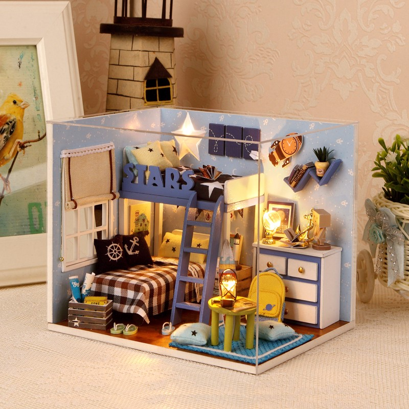 Cuteroom 1:32Dollhouse DIY Kit Light With Cover Starry Sky Adventure Stand Joint Model led night light ocean wave projector starry sky aurora star light lamp luminaria baby nightlight gift battery powered led lights