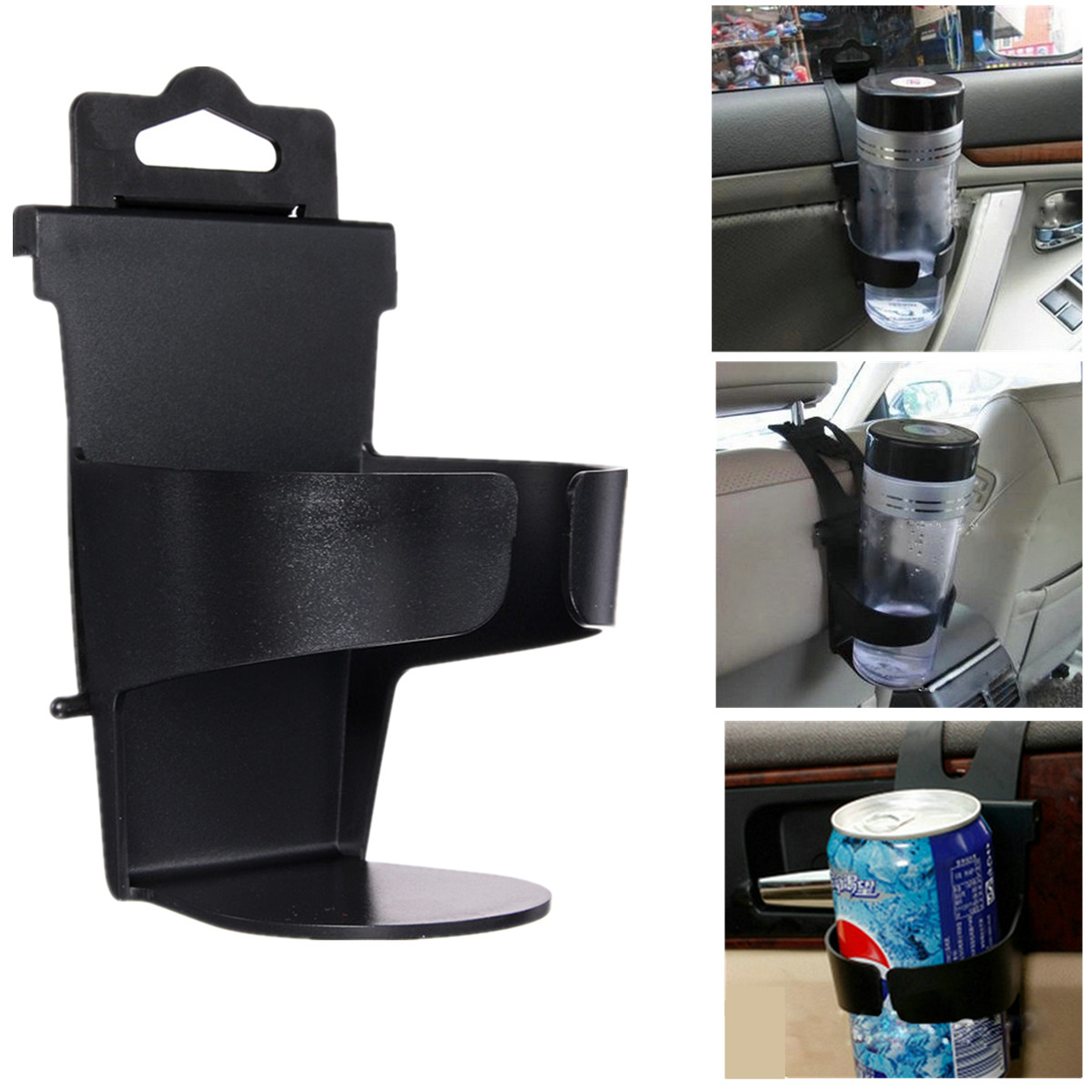 Universal Vehicle Car Truck Door Mount Drinks Bottle Cup Holder Stand Black