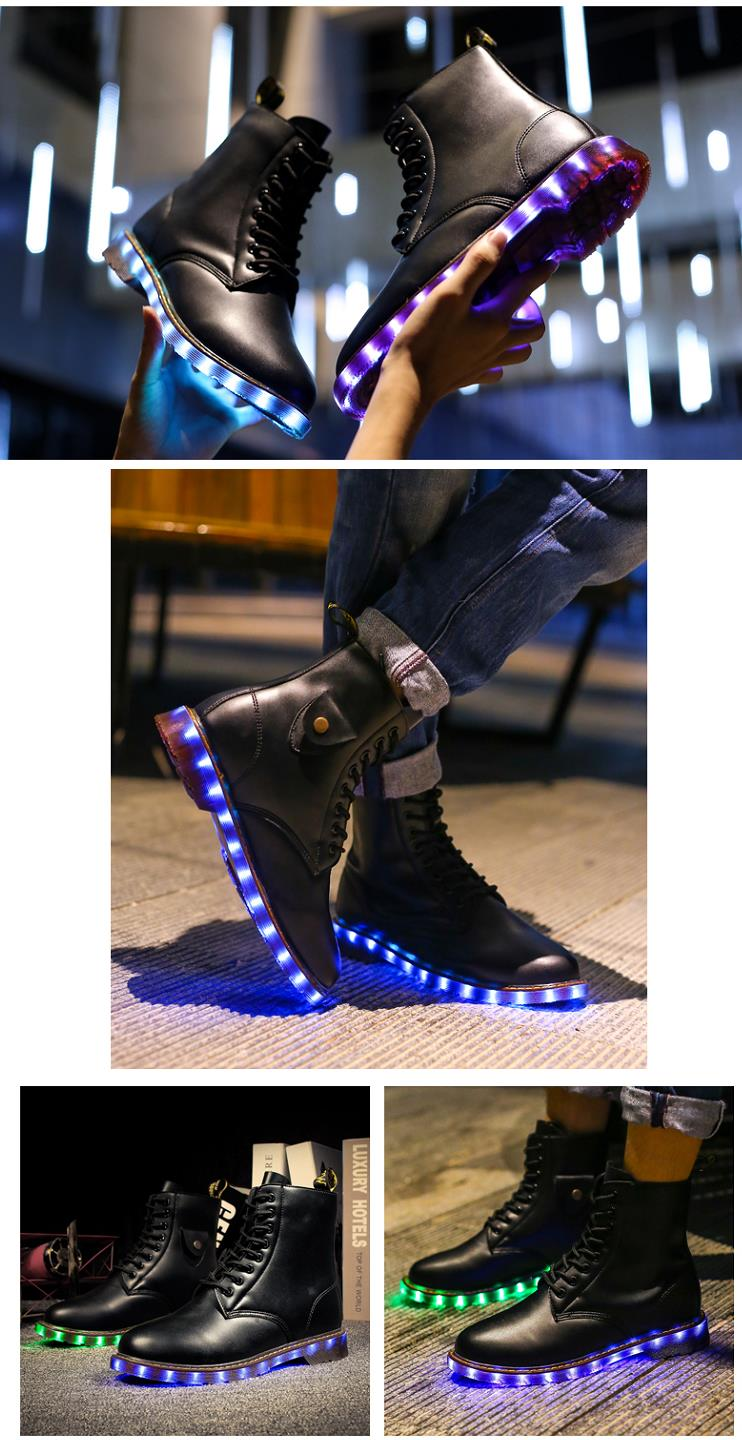 Light Up Chaussures Mode Bottes en cuir flash USB Charging LED Chaussures