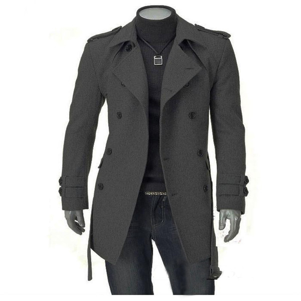 Mens Thicken Woolen Long Coat Double Breasted Slim Fit British