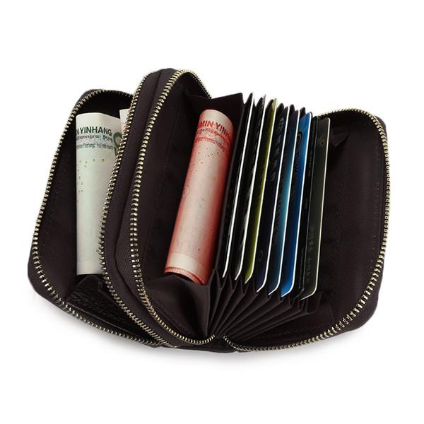 Ekphero Antitheft Genuine Leather 10 Slots RFID Wallet Card Holder Credit Card Protector