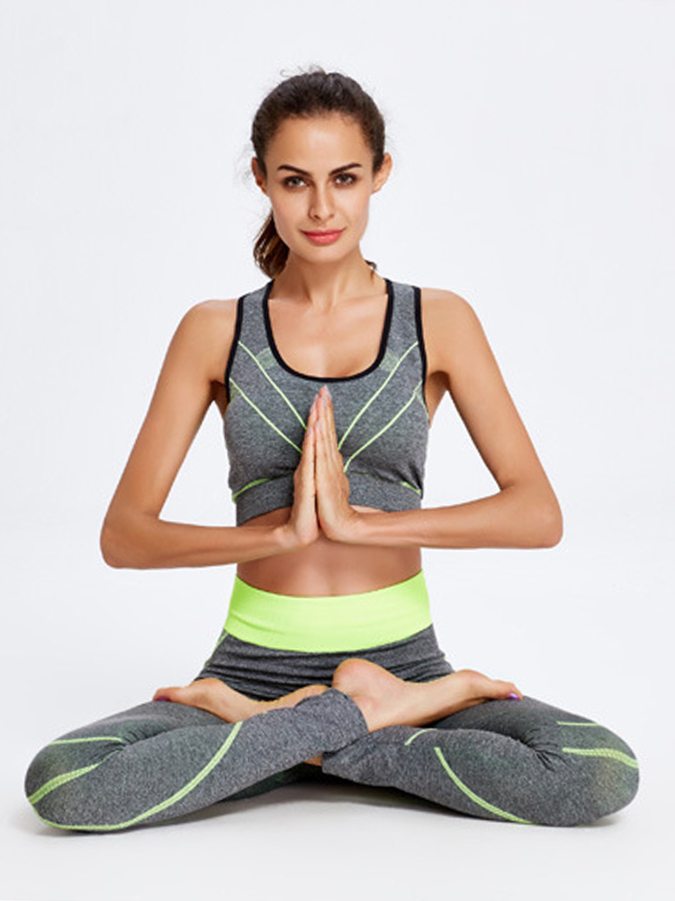 Women Casual Crop Tops and Elastic Leggings Sport Suit For Yoga Running Fitness
