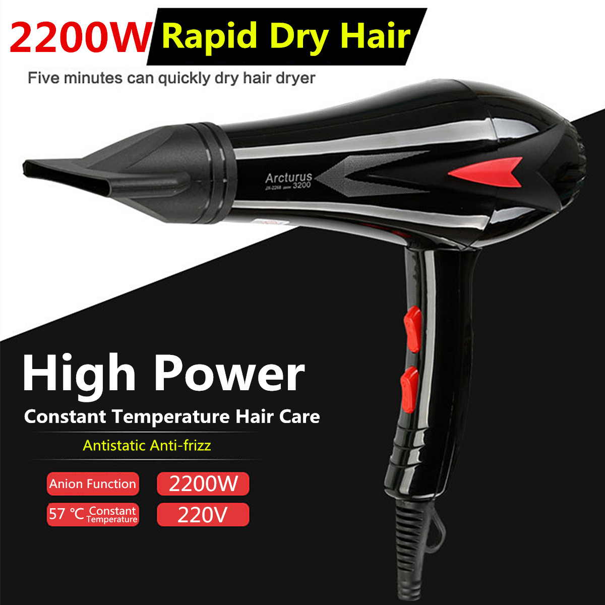 2200W Electric Hair Dryers with Nozzle  Styling Tools