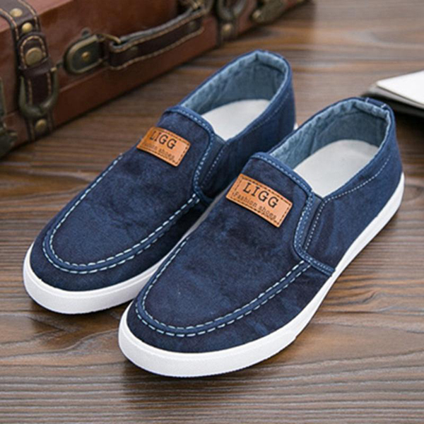 Men Flat Canvas Breathable Sports Leisure Slip-on Sneaker Shoes