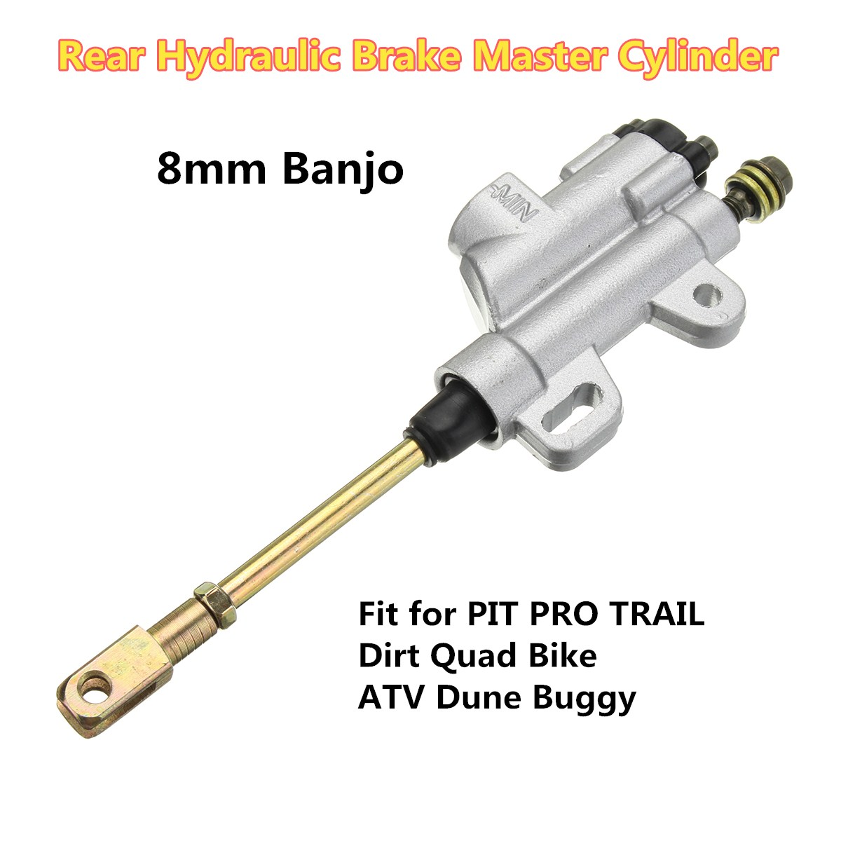 8mm Banjo Bolt Silver Rear Hydraulic Brake Master Cylinder Fit PIT Dirt Bike ATV