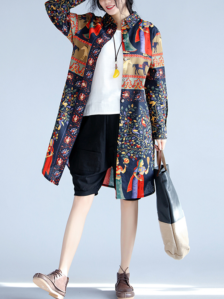Spring Retro Printed Lapel Single-Breasted Long Sleeve Blouses For Women