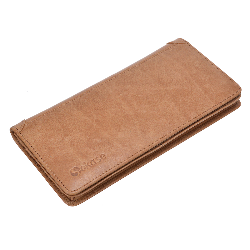 First Layer of Genuine Leather Multi-slot Wallet Case Phone Pouch Bag For iPhone 7/6/6s Plus Samsung