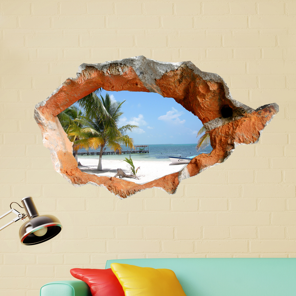 3D Beach Wall Decals 38 Inch Removable Sea Wall Art Stickers Home Decor автоакустика pioneer ts a6933is