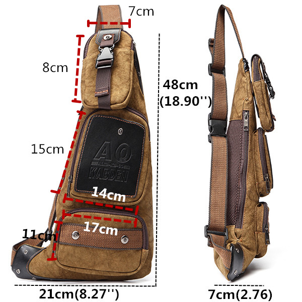 Men's Canvas Leisure Shoulder Bag Vintage Style Crossbody Chest Pack
