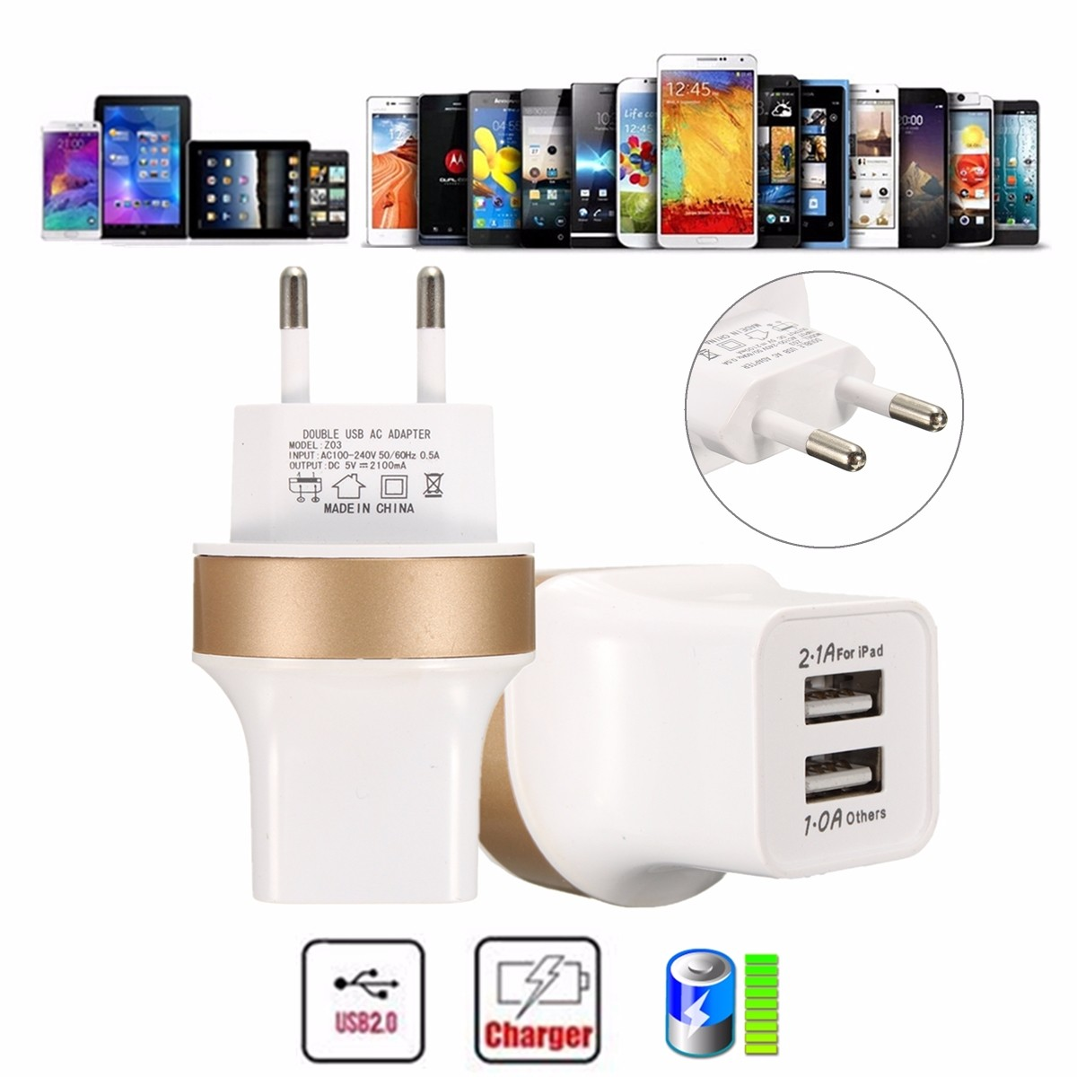Universal EU 5V 2.1A Dual 2 USB Home Travel Wall Power Charger Charging Adapter от Banggood INT