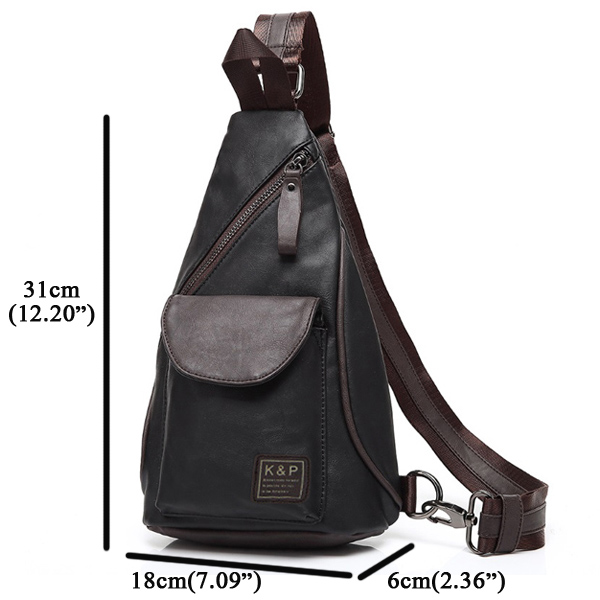 Men PU Waterproof Crossbody Bag Capacity Leisure Shoulder Bag