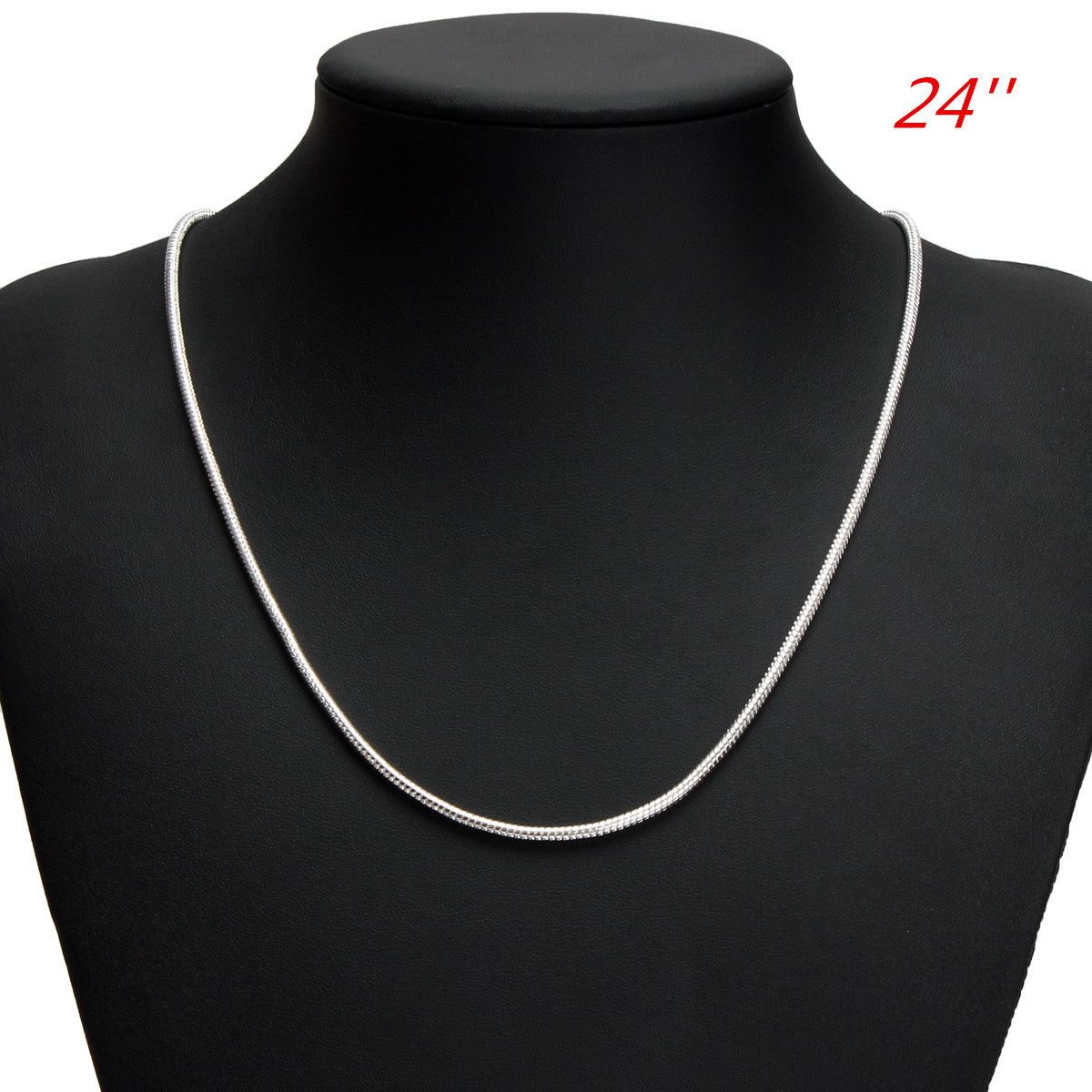 925 Silver 1MM Snake Simple Chain Necklace 16 18 20 22 24 26 inch
