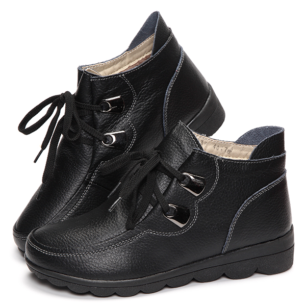 Lace Up Round Toe Flat Ankle Boots Boots For Women
