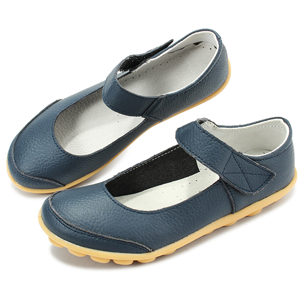Big Size Women Soft Leather Breathable Comfy Flat Shoes Buckle Round Toe Flats