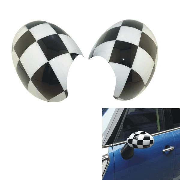 Buy ABS Black White Square Door Mirror Cover for Mini Cooper Countryman Manual R Series
