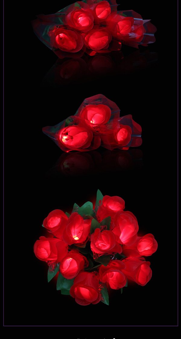 Colorful LED Rose Flower Flashing Glowing Bouquet Wedding Vanlentine Party Decoration
