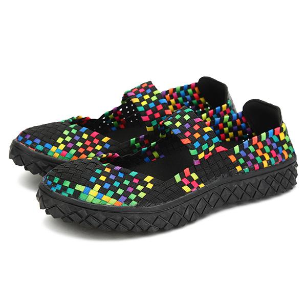 女性の夏の通気性のあるサンダルニットプラットフォームの弾性靴