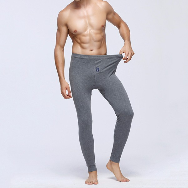 Mens Fall Winter Soft Cozy Close Fitting Slim Cotton Bedding Bottom Warm Pants Leggings