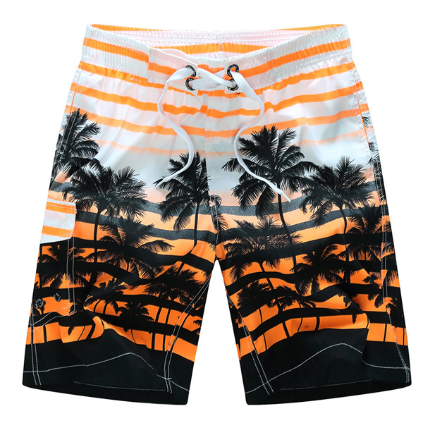 Buy Mens Fashion Coconut Trees Printing Casual Losse Quick-drying Polyester Summer Beach Shorts
