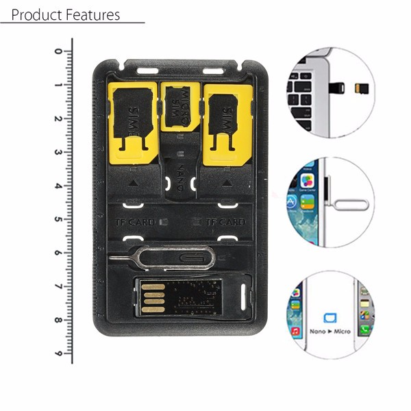 7 Storage Slots and Memory Card Read SIM Card Needle TF Card SIMCard Holder Case for iphone Samsung