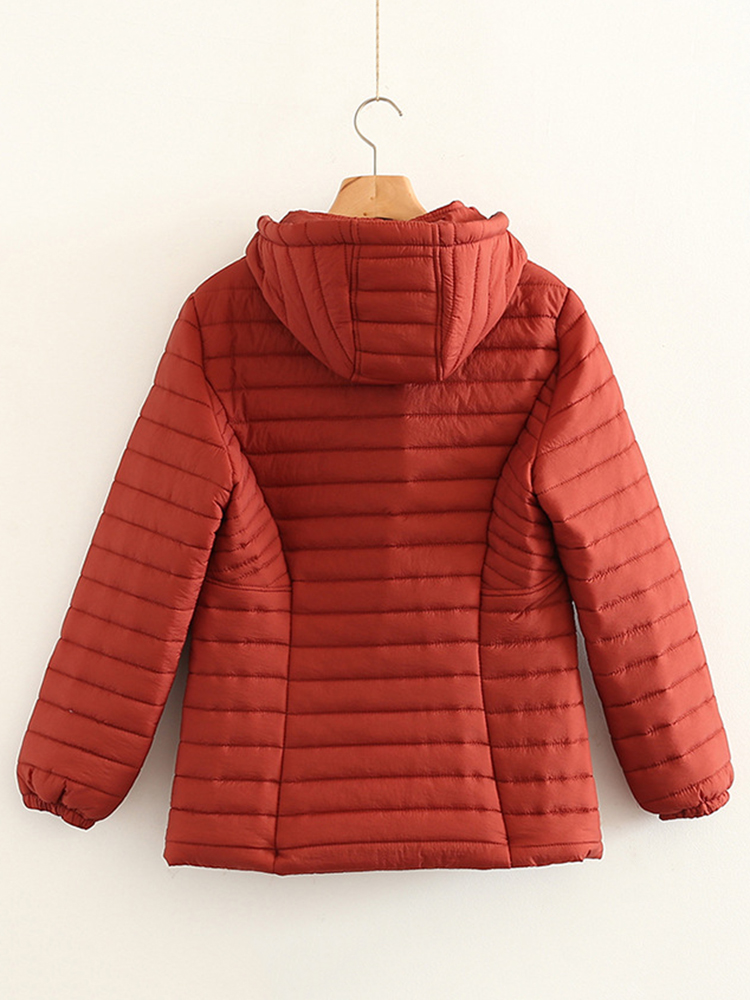 Casual Women Pure Color Long Sleeve Zipper Hooded Coat