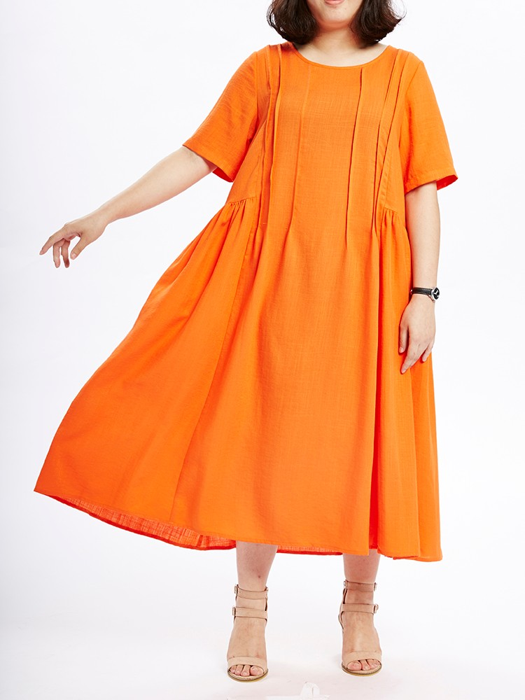 Loose Women Summer Pure Color Pleated Stitching Maxi Dress