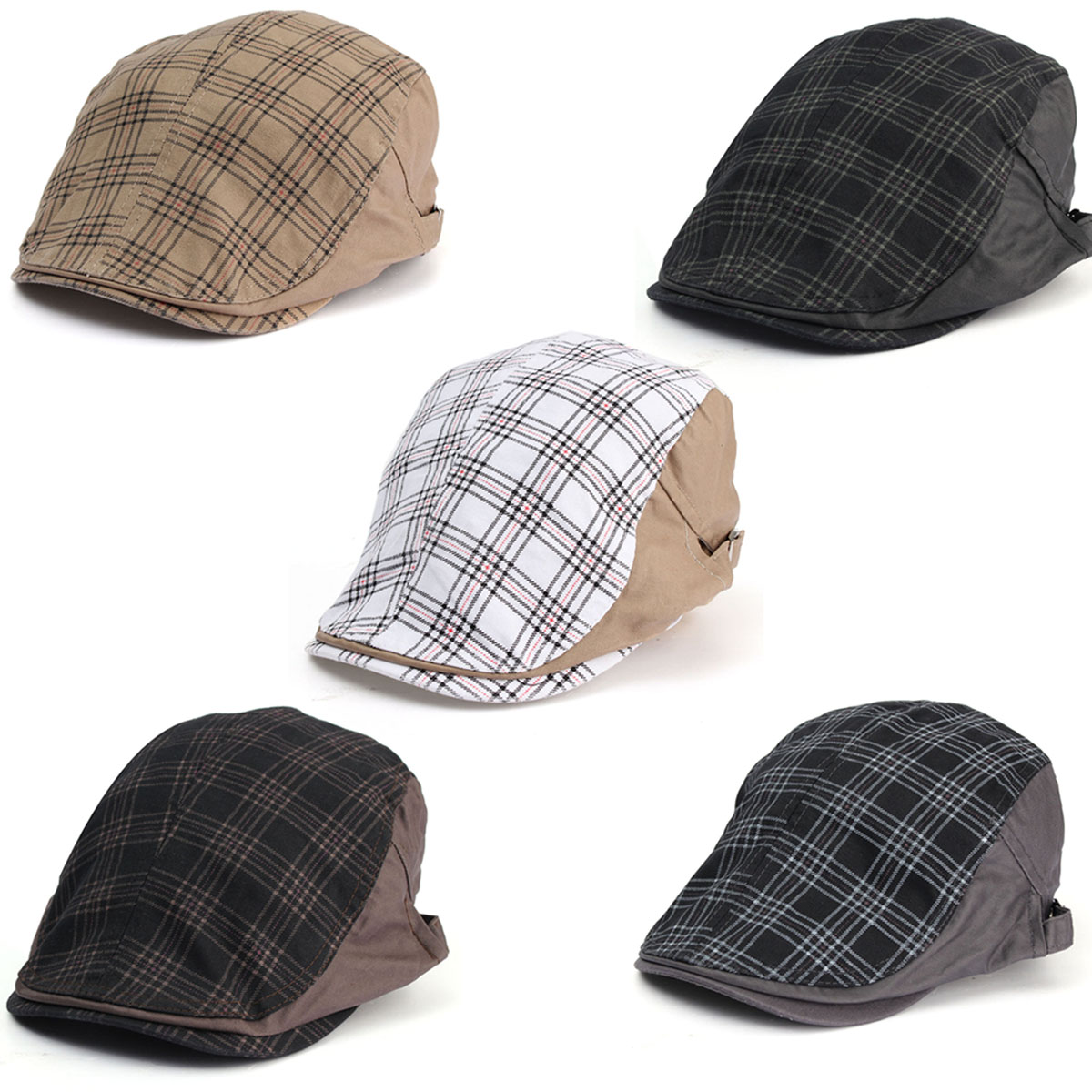 Men Male Cotton Blend Grid Newsboy Beret Hat Buckle Golf Flat Checked Buckle Cabbie Cap men male wool blend newsboy beret cap grid blank thick flat cowboy cabbie hat