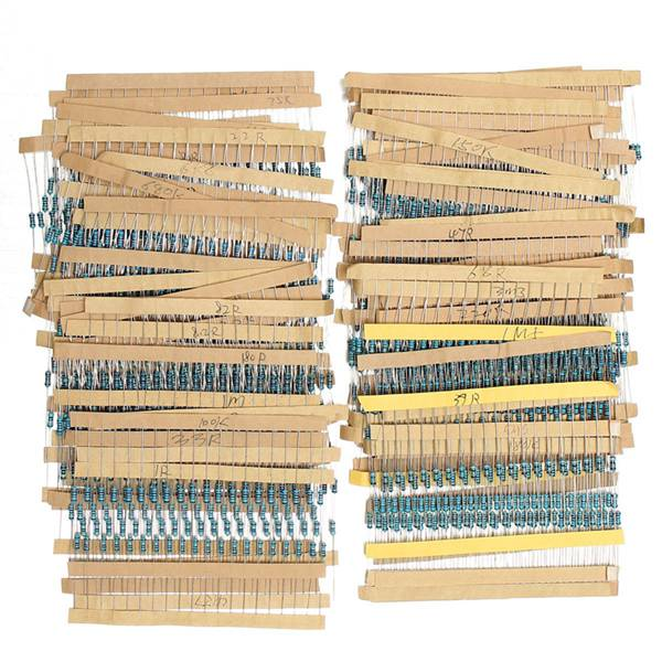 1500Pcs 1/4W Metal Film Resistors Assorted Kit 75 Values (1 ohm To 10M ohm) 1% 500 pcs through hole axial lead metal oxide film resistor 200 ohm 1 2w