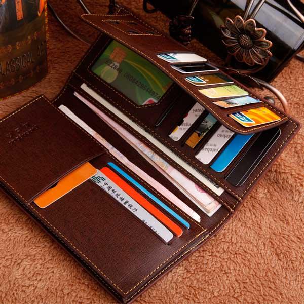 Men Women PU Business Three Fold Long Zipper Portable Wallet Purse