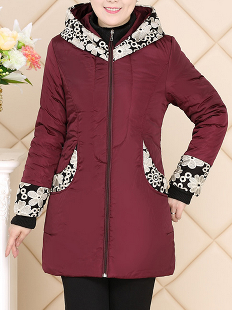 Casual Hooded Patchwork Printing Cotton-Padded Thick Warm Coat