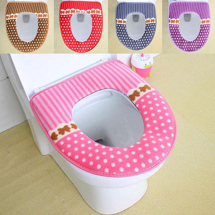 42x36cm Washable Bathroom Dot Toilet Seat Cover Closestool Seat Cushion Plush Pad