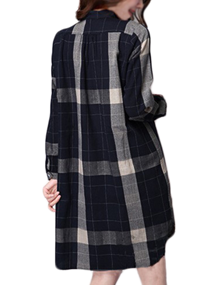 Women Girl Plaid Check Button Irregular Hem Straight Shirt Dress