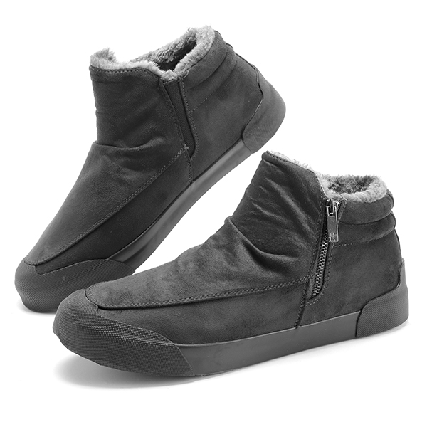 Comfy Men Casual Soft Warm Fur Lining Side Zipper High Top Sneakers Boots