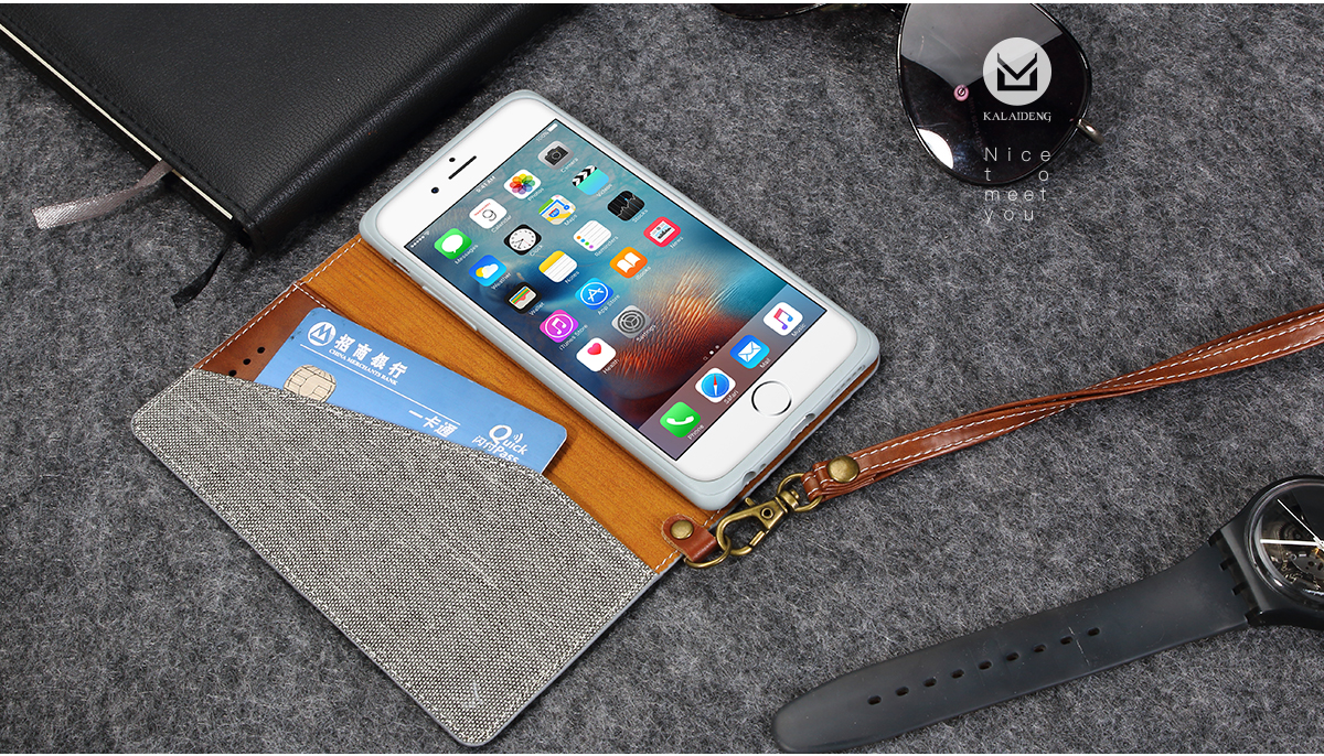 For iPhone 6 6s 4.7 Inch Linen Leather Flip Over Wallet Kickstand Case With Card Slot Lanyard