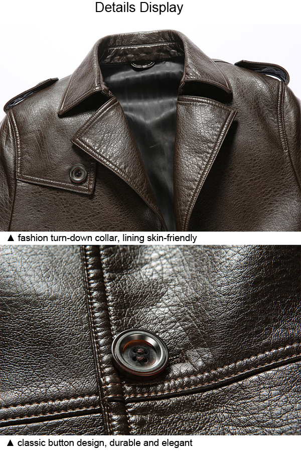 Mens Turn-down Fashion Casual PU Leather Suit Jacket Solid Color Thick Winter Coat