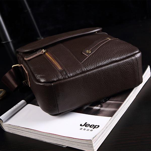 Men Bag, Genuine Leather Business, Casual Zipper Coffee, Shoulder Crossbody Messenger Bag