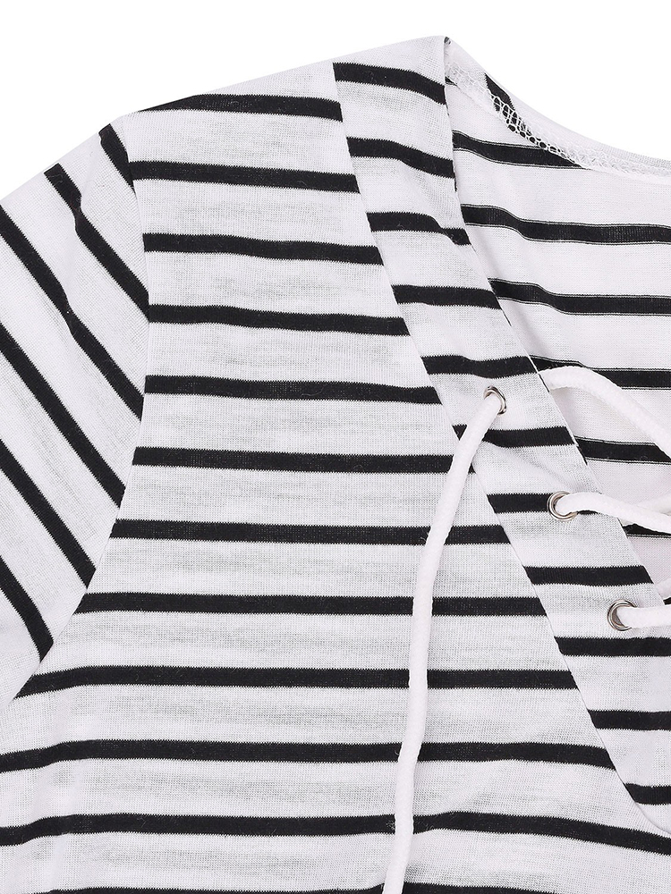 Stripe Long Sleeve Women T-Shirt Shoulder