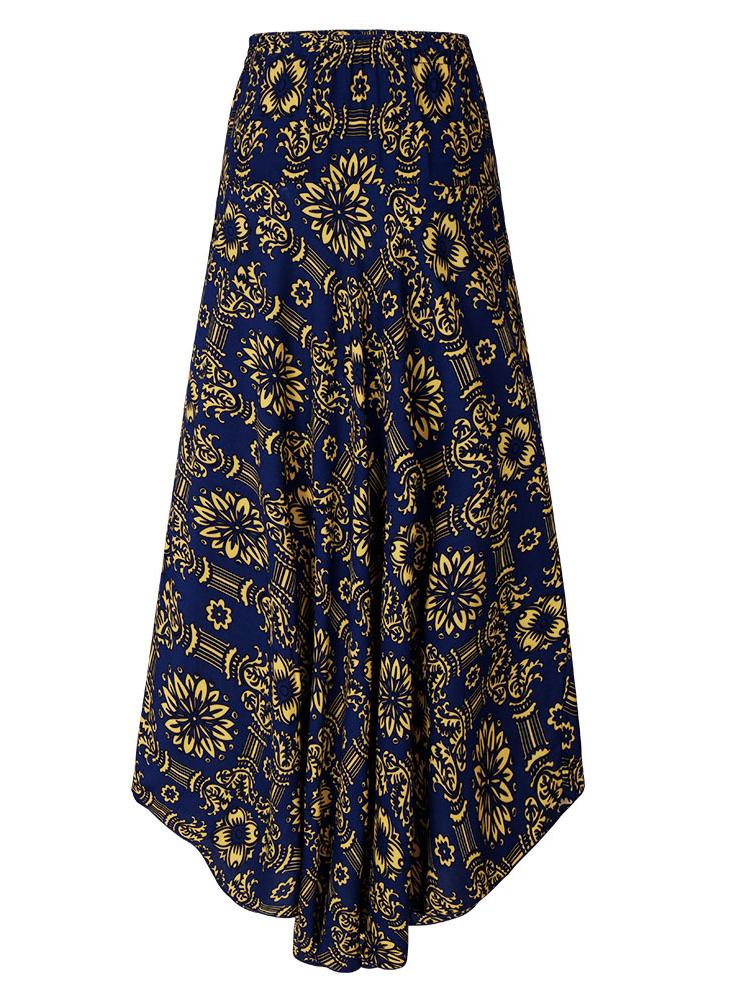 Bohemian Women Elastic Waist Printed Irregular Maxi Skirts